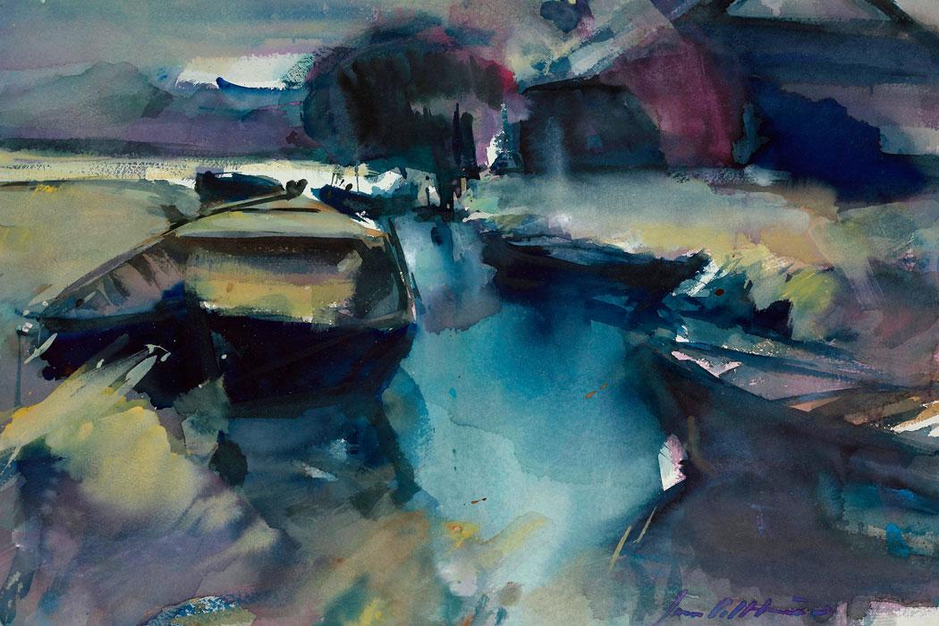 Super Abstract landschap schilderen met acrylverf en aquarel YA-38